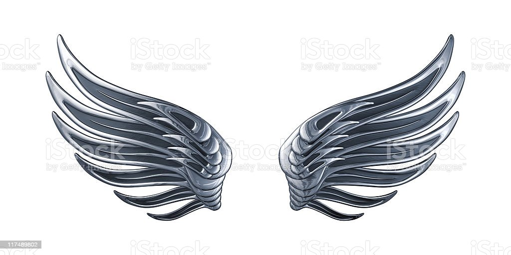 Glossy Silver Wings stock photo