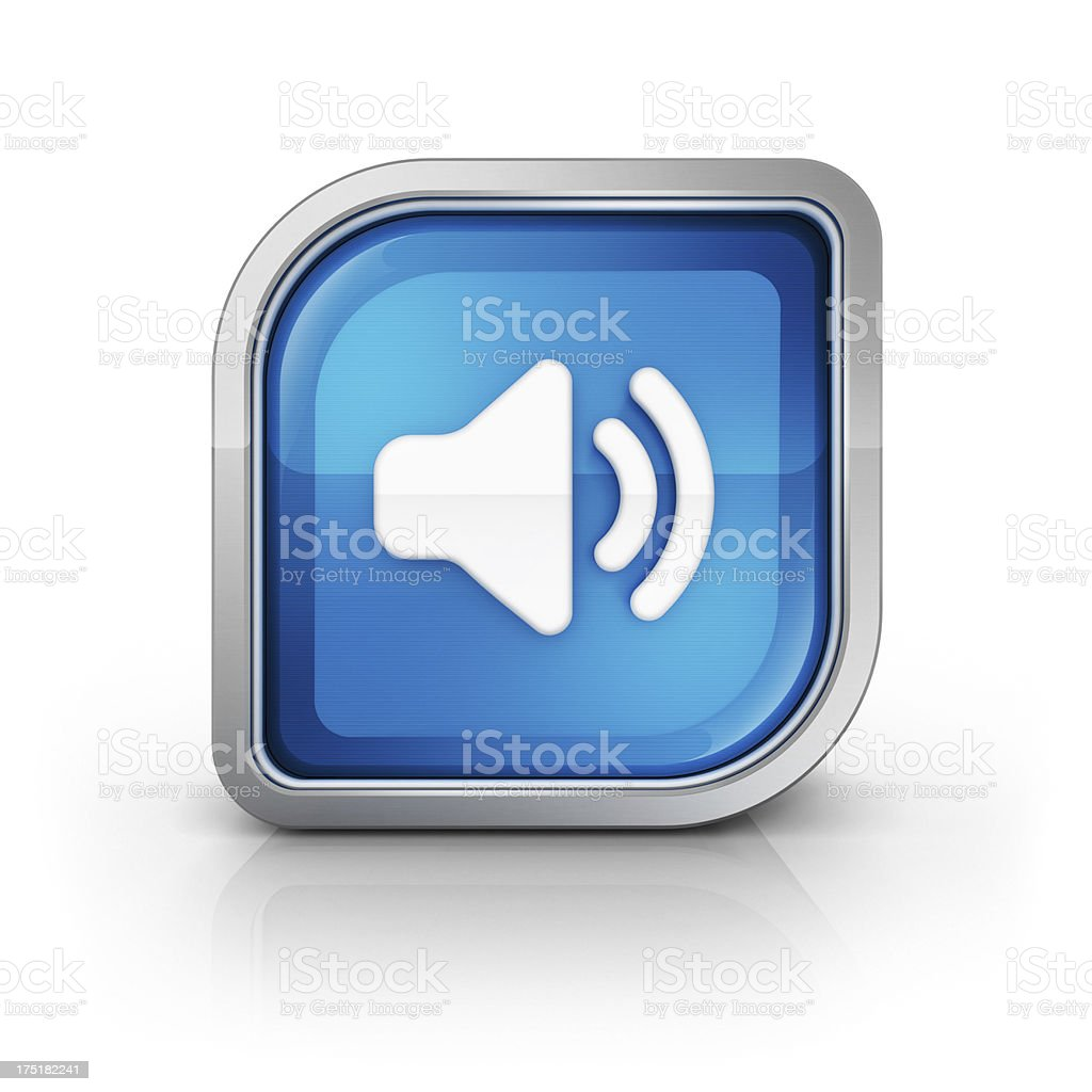 Glossy square speaker toggle icon stock photo