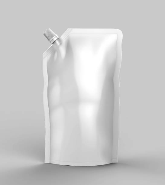Glossy Stand-up Spout Pouch, Doy pack With Cap Blank white 3d template mock up. 3d render illustration. stock photo