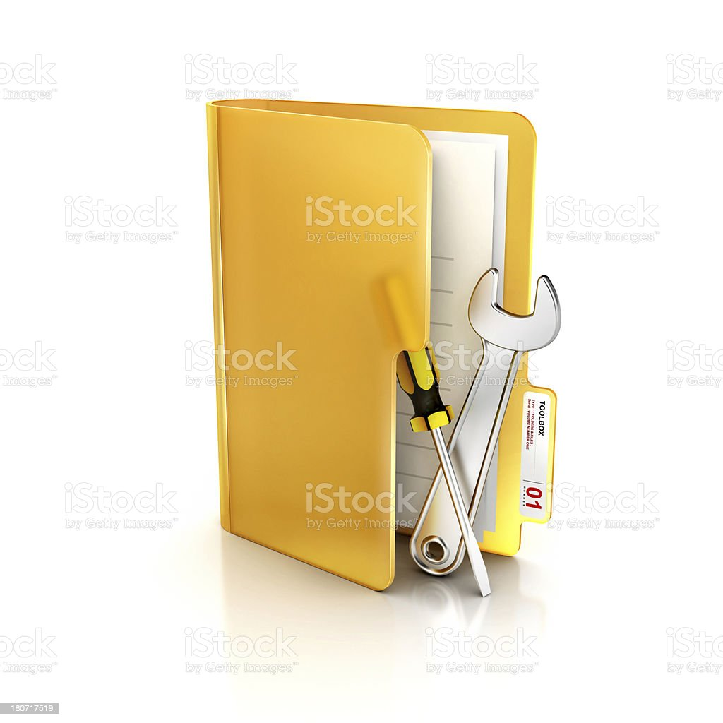Glossy Transparent icon of folder and Support or working tools royalty-free stock photo