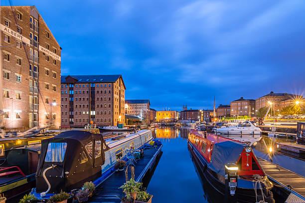 Gloucester Docks at dusk stock photo