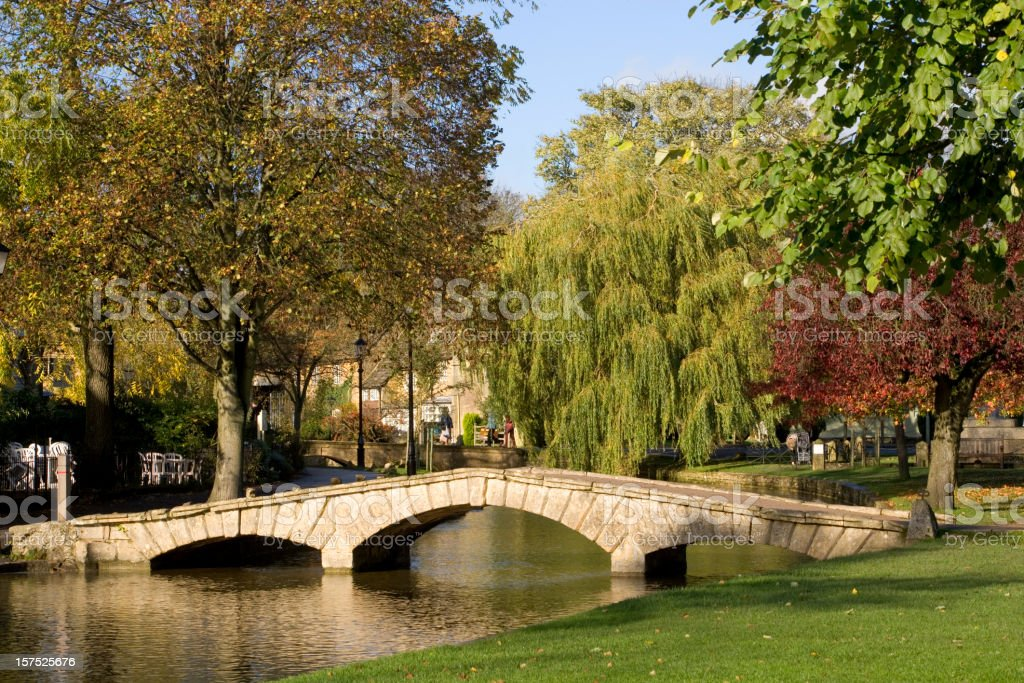 UK, Gloucestershire, Cotswolds, Bourton on the Water, River Windrush, autumn stock photo