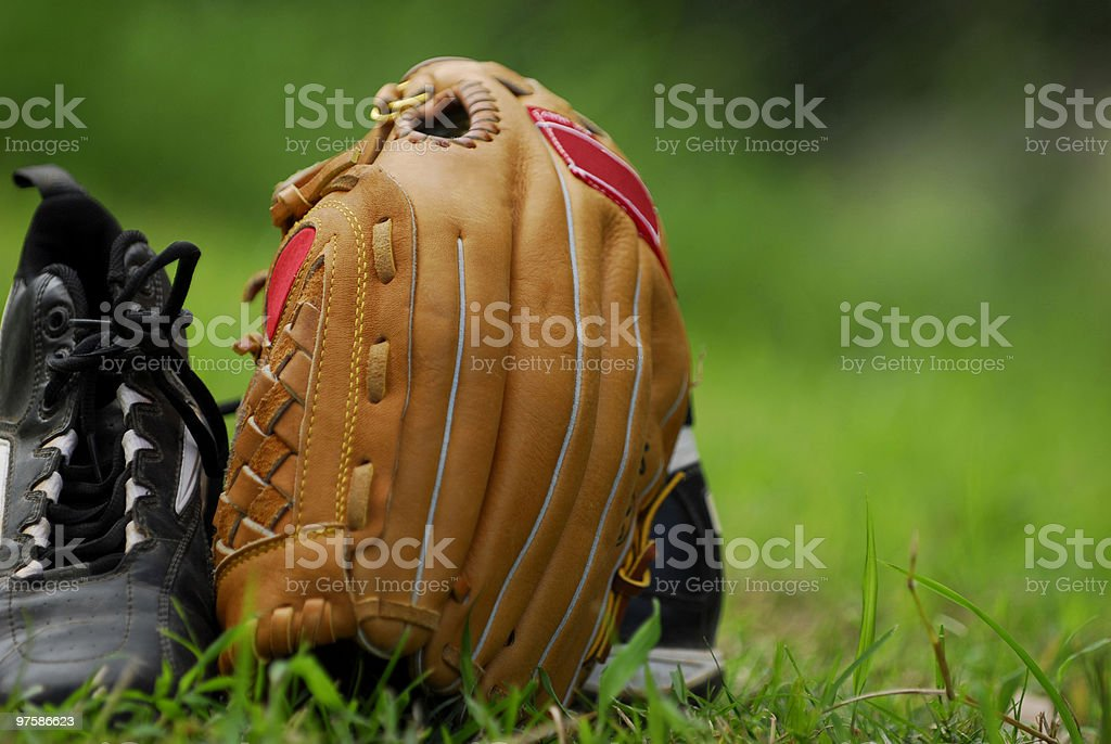 Glove and spikes royalty-free stock photo