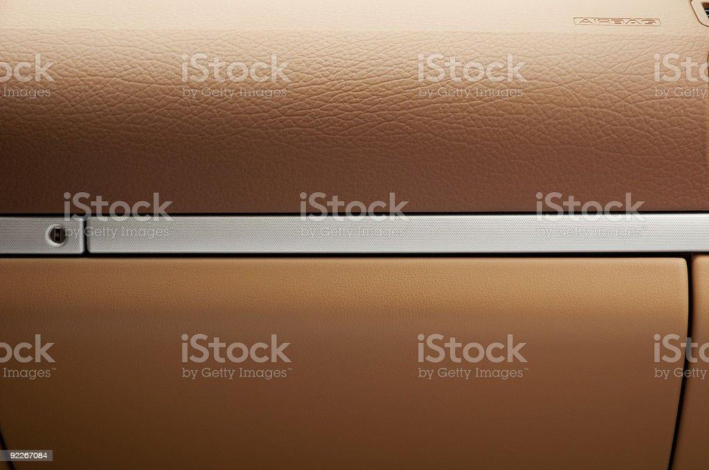 Glove box of luxury SUV stock photo
