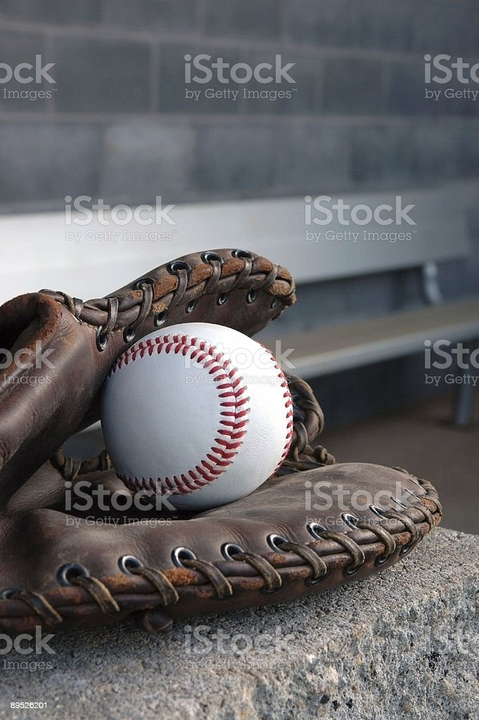 Glove in the Dugout royalty-free stock photo