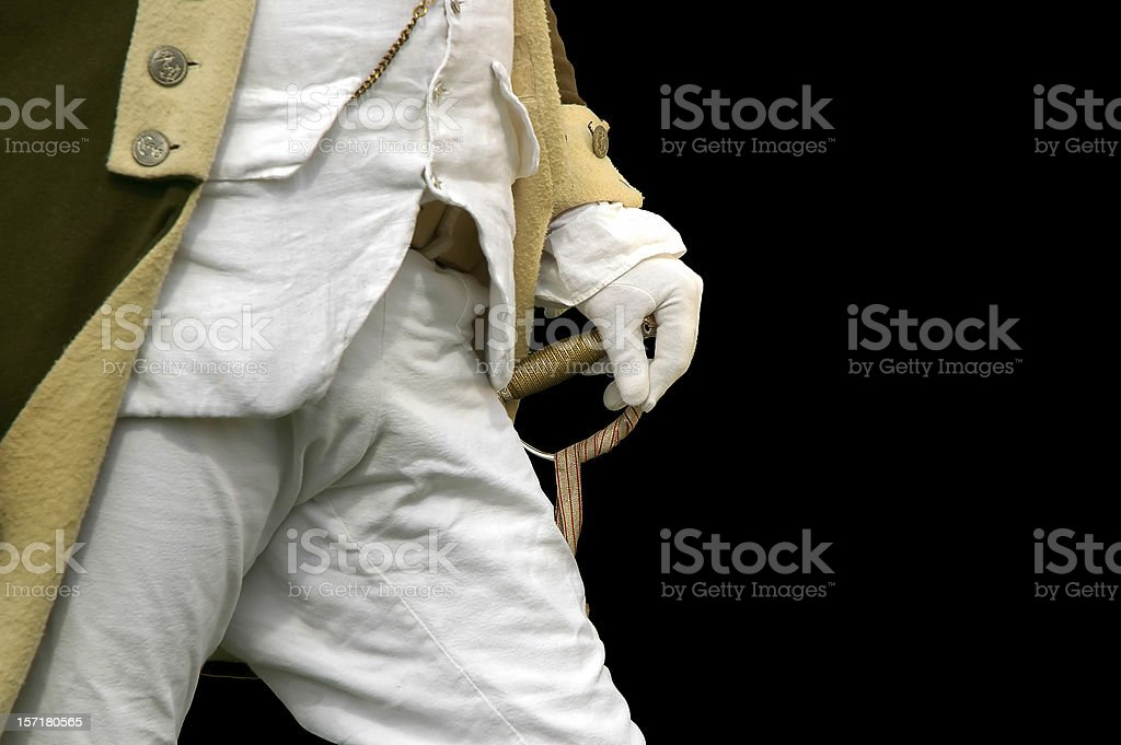 Gloved Hand on Sword: Military Leadership Readiness royalty-free stock photo