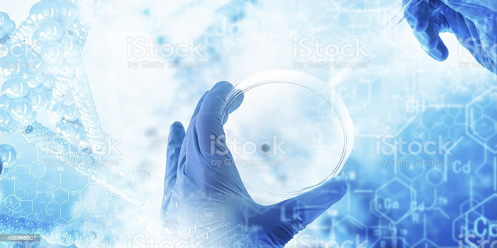 Gloved hands holding dish with abstract chemistry background stock photo