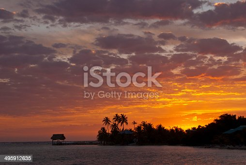 Sunrise at Southwest Cay on Glover's Reef, Belize.