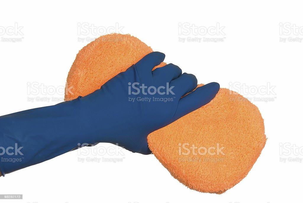 Gloves and sponge stock photo