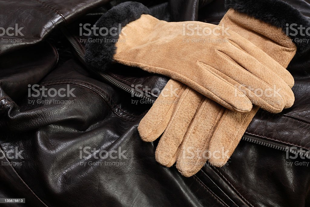Gloves On Leather stock photo