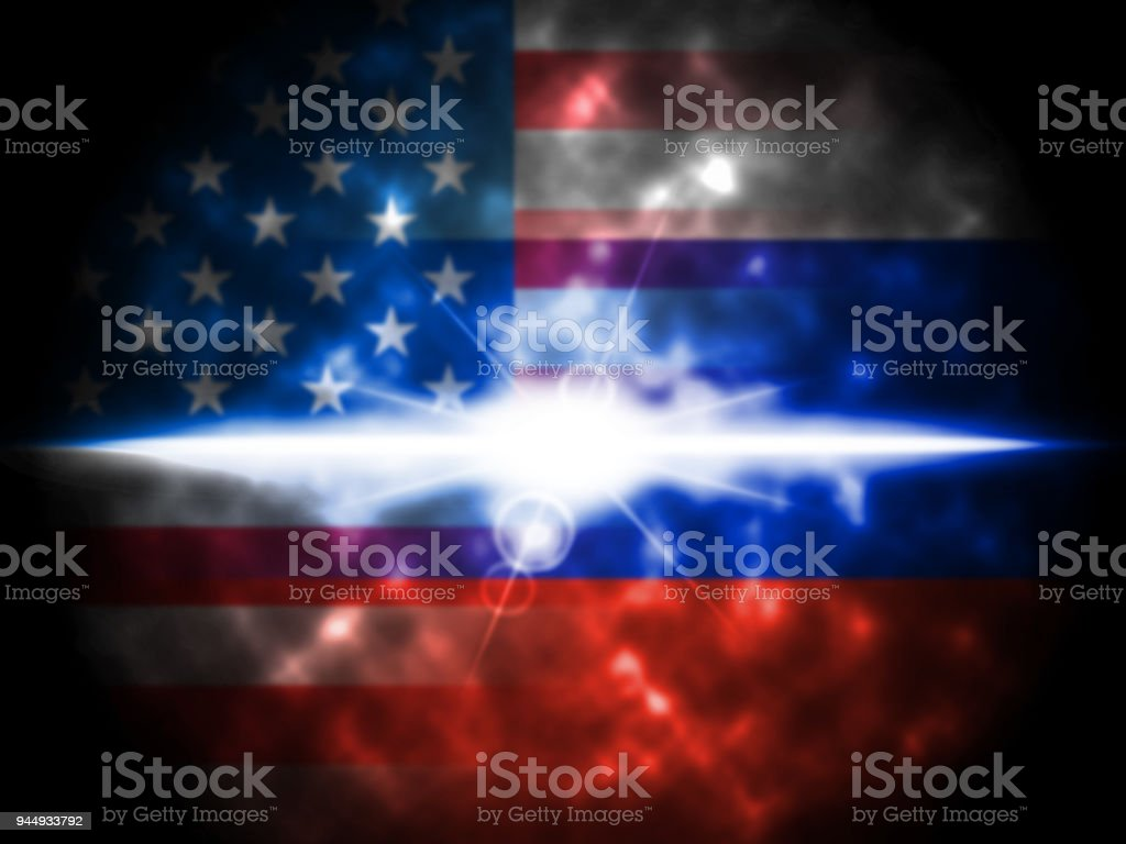 Glow On Russian And American Flag 3d Illustration stock photo