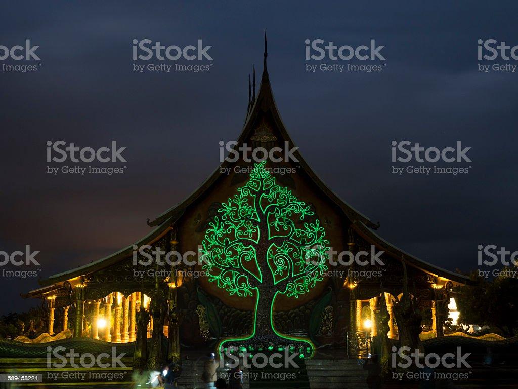 Glow painting of Pink shower tree in Sirindhornwararam Temple stock photo