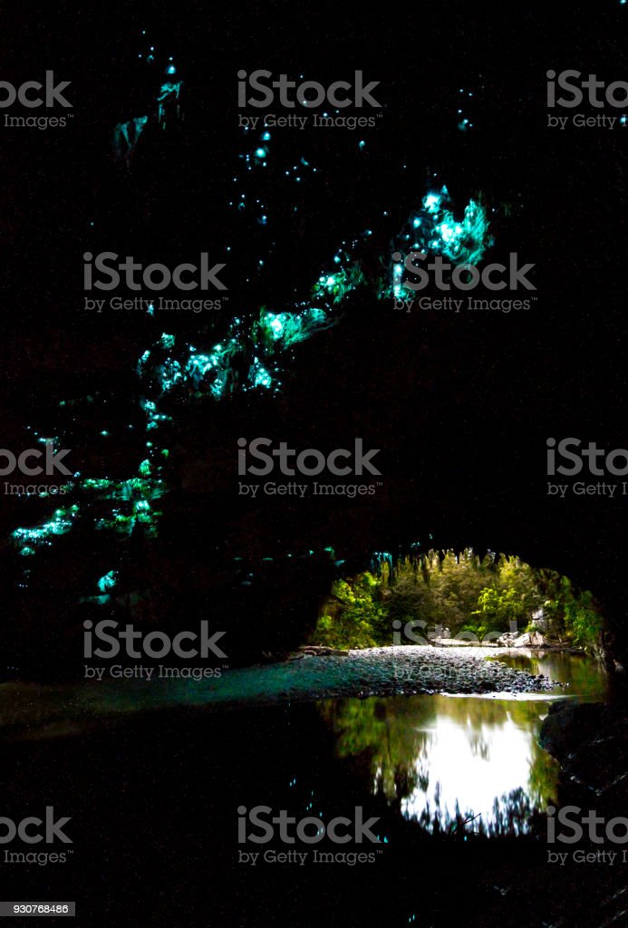 Glow Worms in Moria Gate Arch, Oparara Basin, New Zealand stock photo