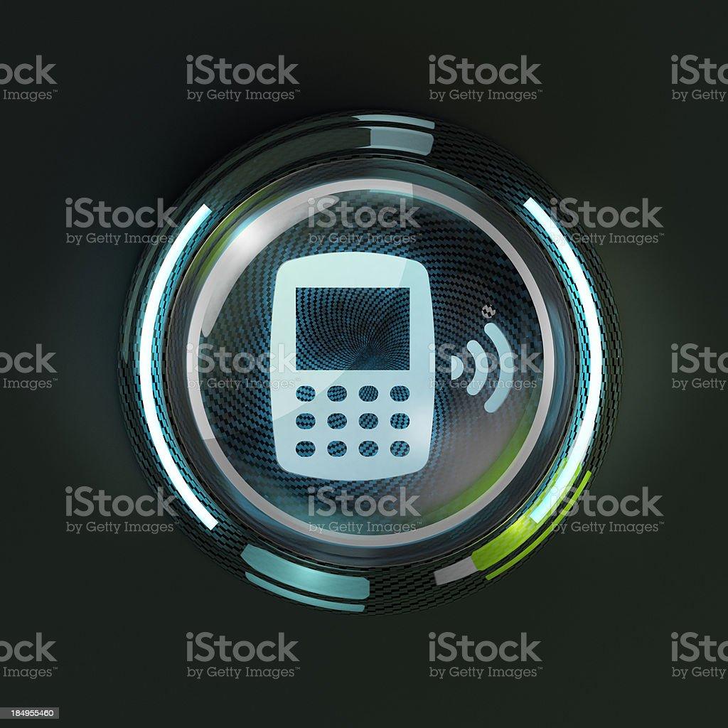 Raggiante 3d Pulsante Del Telefono Cellulare Su Sfondo Scuro