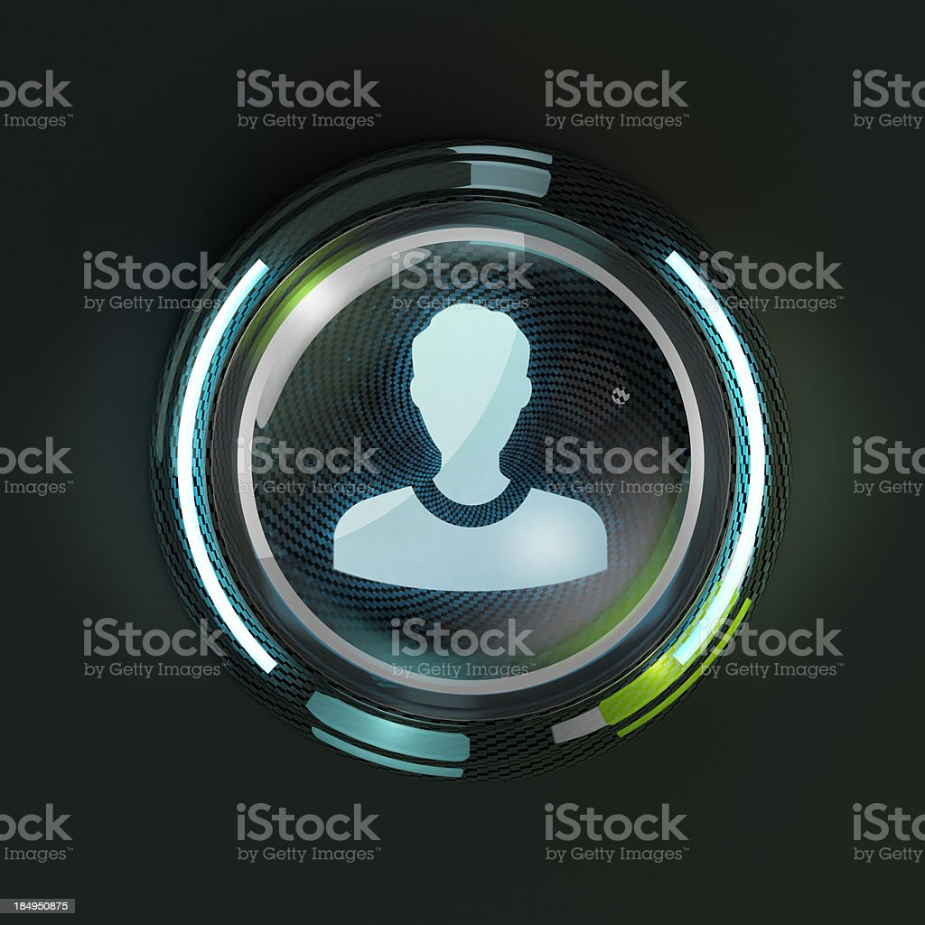 Glowing 3D profile avatar button on dark background. stock photo
