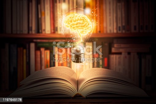 Glowing and shining brain lightbulb over an open book with a bookshelf as background. Knowledge, study, cognition, learning, literacy, library 3d illustration concepts. Mixed media.