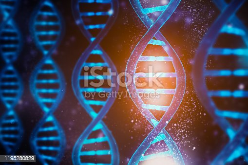 Glowing and shining DNA strands double helix close-up. Medical, biology, microbiology, genetics 3D rendering illustration concept. Artist vision.
