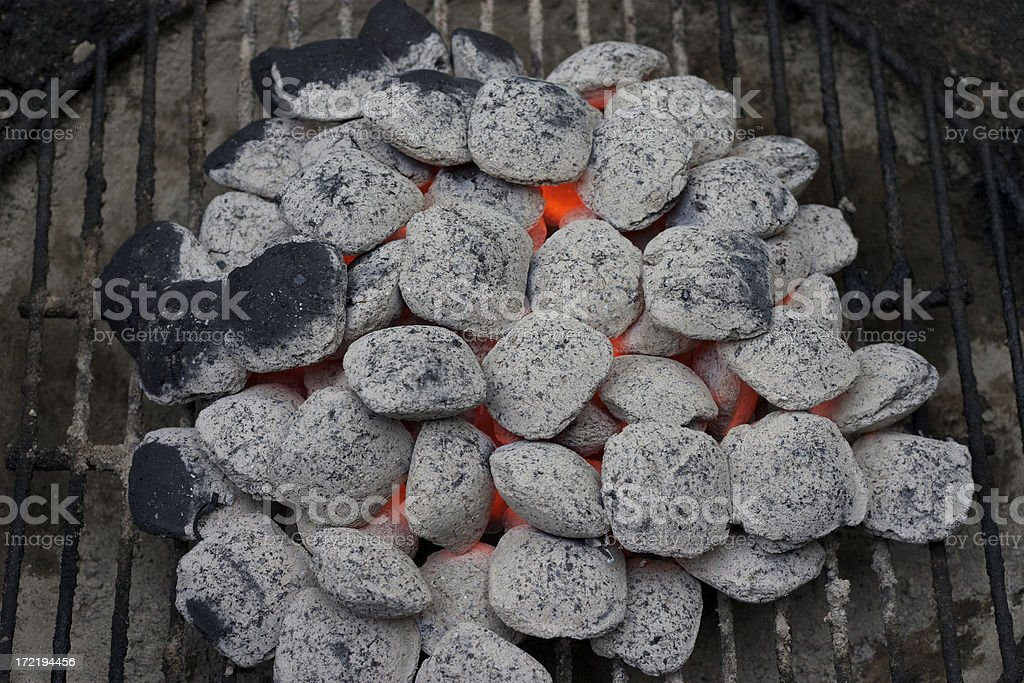 Glowing Ashed Coals on Grill royalty-free stock photo