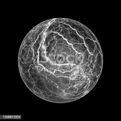 657546096 istock photo Glowing ball lightning effect isolated black and white 1206912324