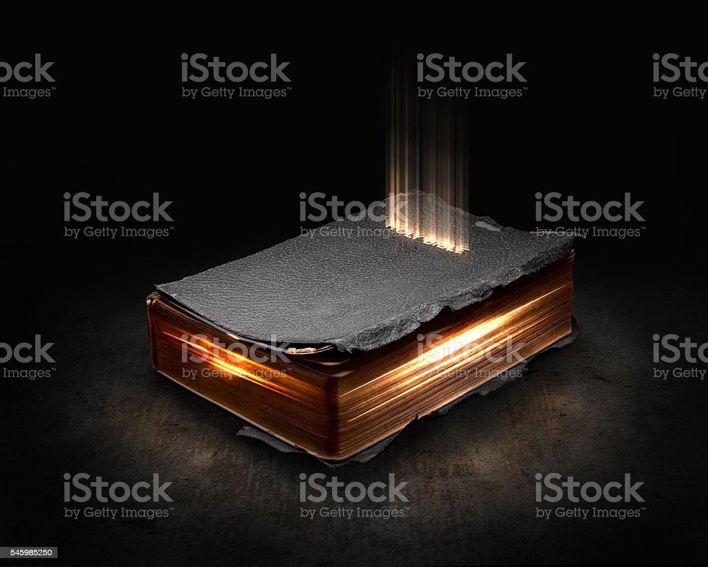 Glowing Bible stock photo