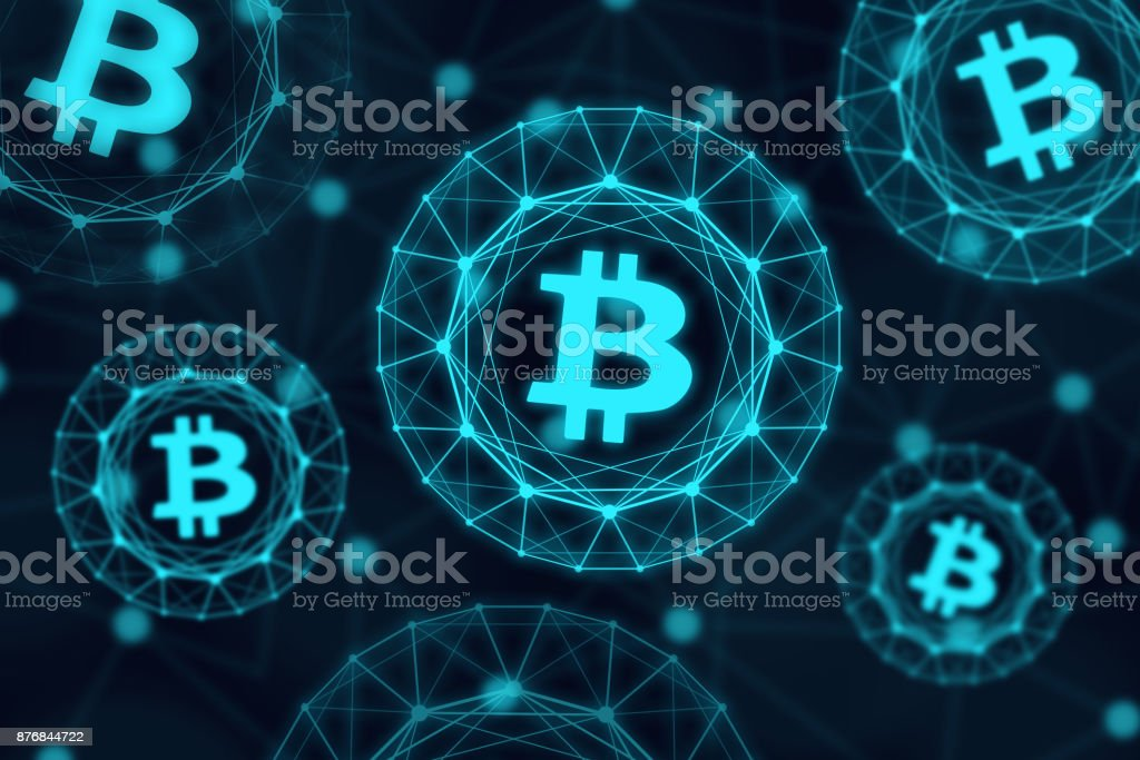 Glowing bitcoin signs on dark background - fotografia de stock