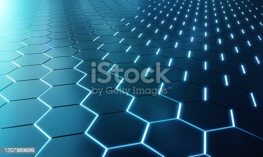 1003112152 istock photo Glowing black and blue abstract hexagons background pattern on silver metal surface 3D rendering 1207989699