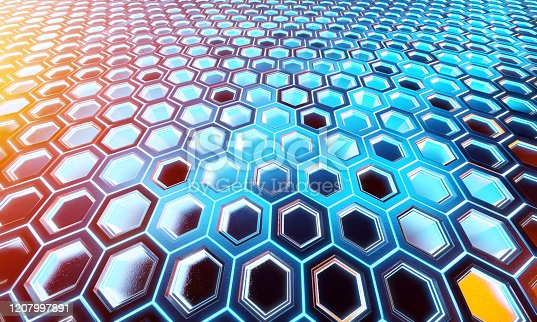 1003112152 istock photo Glowing black blue and orange hexagons background pattern on silver metal surface 3D rendering 1207997891