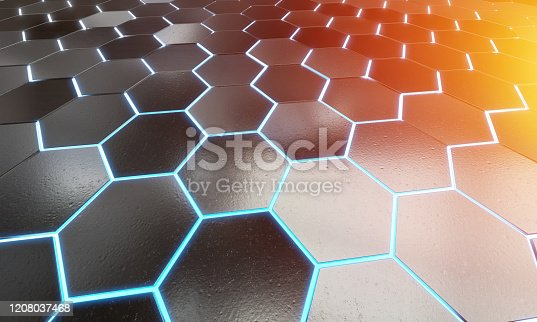 1003112152 istock photo Glowing black blue and orange hexagons background pattern on silver metal surface 3D rendering 1208037468