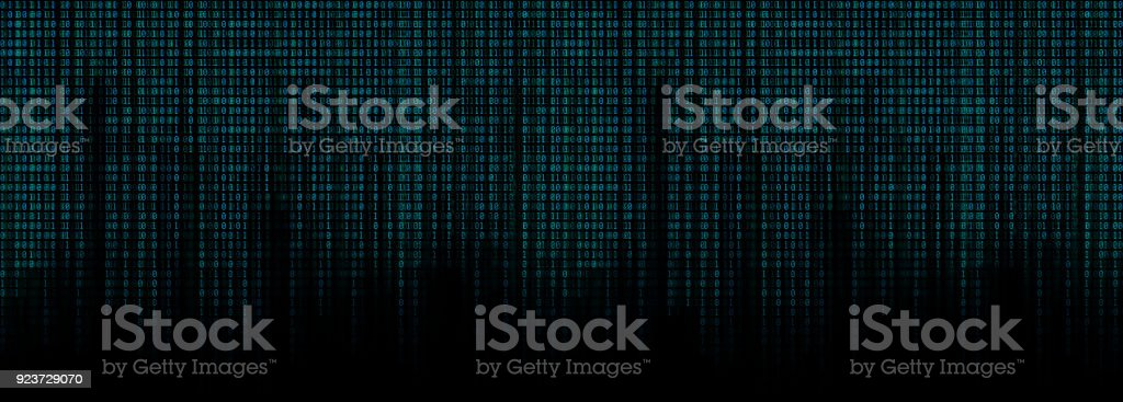 glowing blue binary code matrix background wide banner stock photo