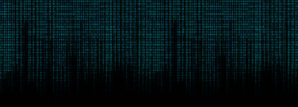 glowing blue binary code matrix background wide banner - binary code stock pictures, royalty-free photos & images