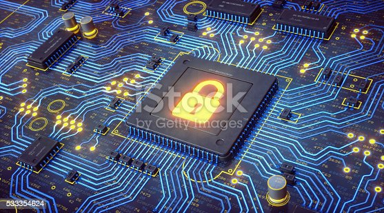 istock Glowing Blue Circuit With Security Lock 533354624