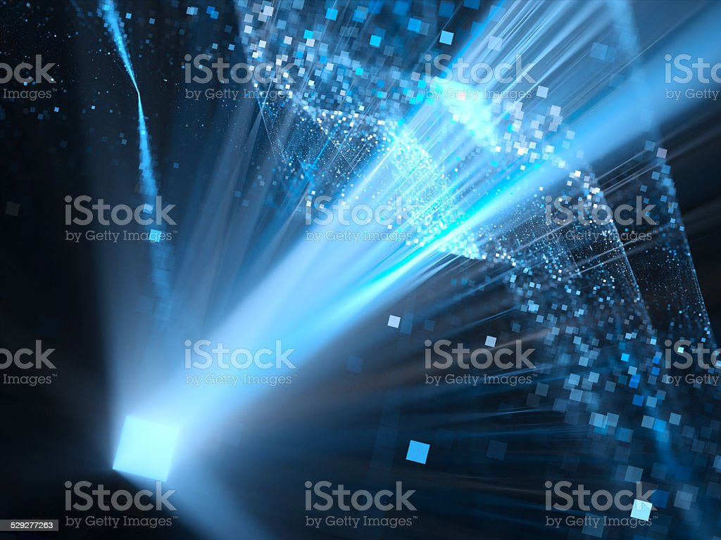 Glowing blue dimensional square in space stock photo
