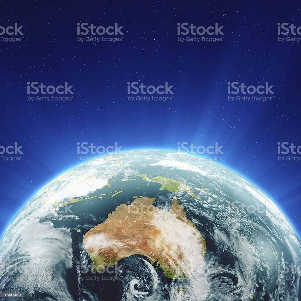 Glowing Blue Earth Australia and New Zealand stock photo