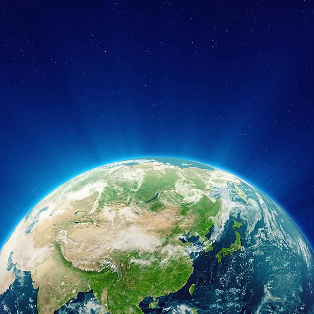 輝くブルーのアースの中国、日本、極東 - 地球 日本 ストックフォトと画像