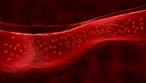 gloeiende blauwe generieke virus cel 3d render illustratie - bloedvat stockfoto's en -beelden