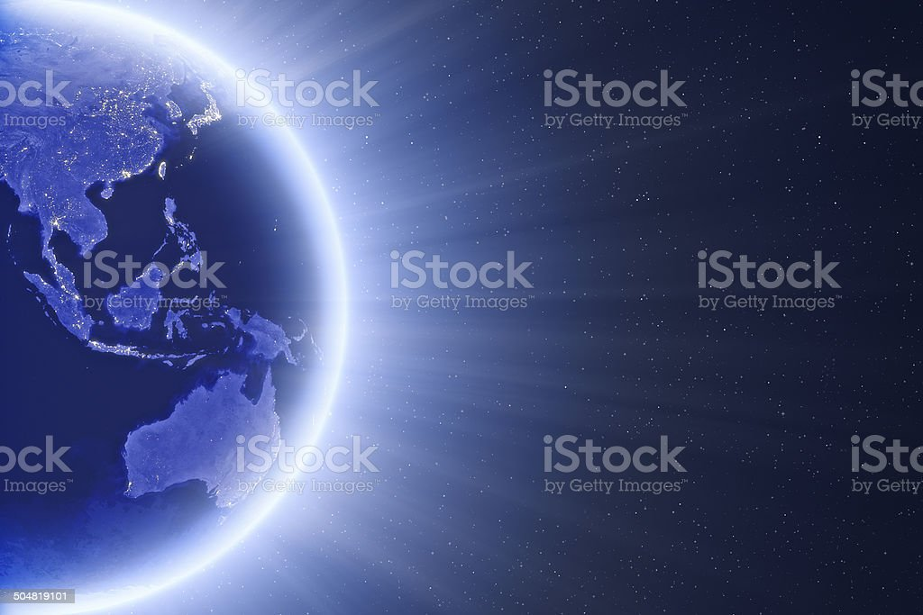 Glowing Blue Globe - East Asia And Oceania stock photo