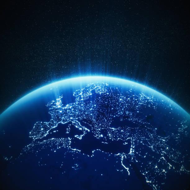 Glühender Blue Globe With City Lights (World Map Credits To NASA) – Foto