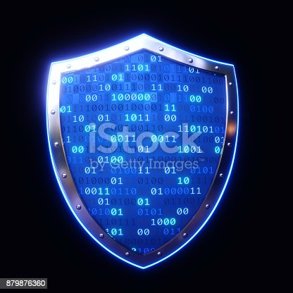istock Glowing Blue Shield Isolated On Black 879876360