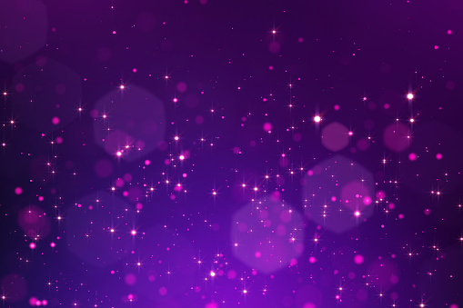 Glowing purple bokeh background, white circle and star lights