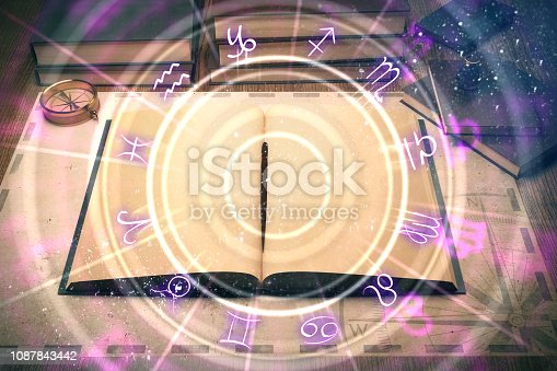 istock Glowing book with zodiac wheel 1087843442