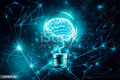 Glowing brain in a light bulb. Futuristic Plexus lines network background. Imagination, knowledge, cognition, learning, idea concepts 3d rendering illustration. Mixed media. Artistic vision.