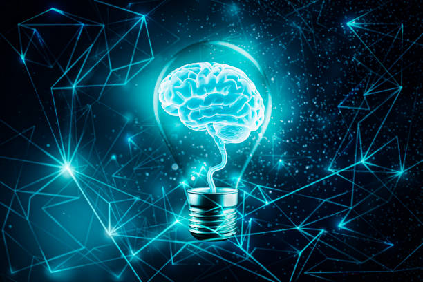 Glowing brain in a light bulb. Futuristic Plexus lines network background. Imagination, knowledge, cognition, learning, idea concepts 3d rendering illustration. Mixed media. Artistic vision. stock photo