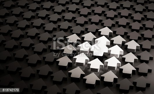 istock Glowing bright arrow in group of black arrows 513742170