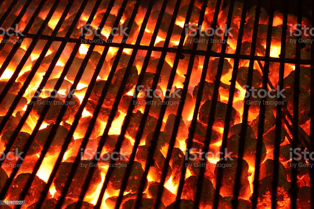 Glowing burning hot barbeque Grill stock photo