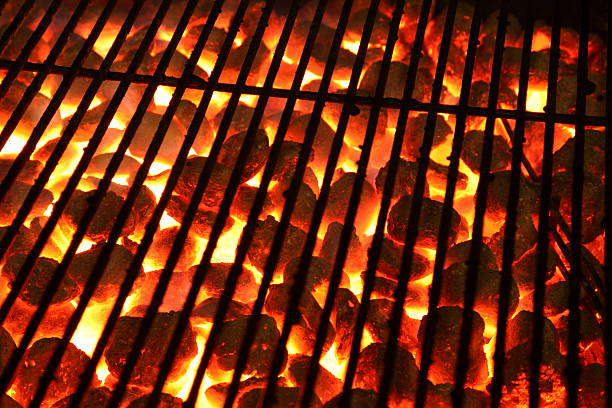 Glowing burning hot barbeque Grill Glowing burning hot barbecue charcoal Grill pejft stock pictures, royalty-free photos & images