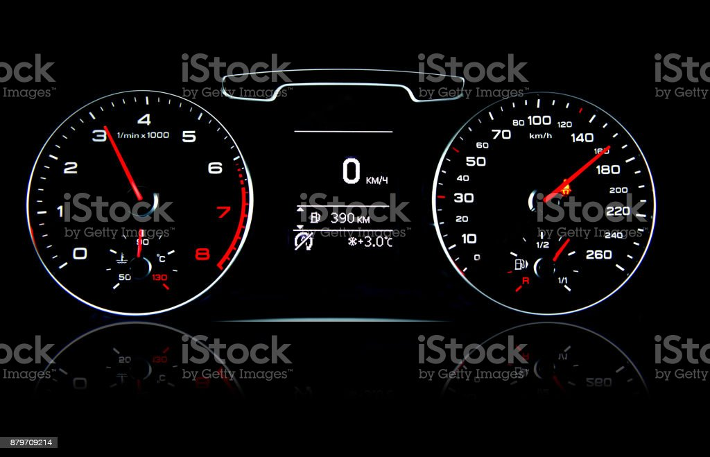 Glowing car dashboards in black and red colors stock photo