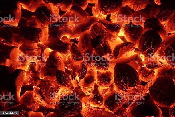 Photo of Glowing Charcoal Briquettes Background Texture