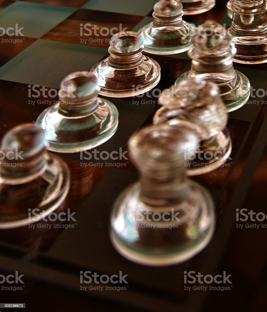 Glowing  Chess Set, Full Frame Closeup, Modern Colors, Game Strategy stock photo