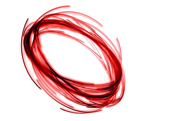 glowing circular red, long exposure of creative light painting stock photo