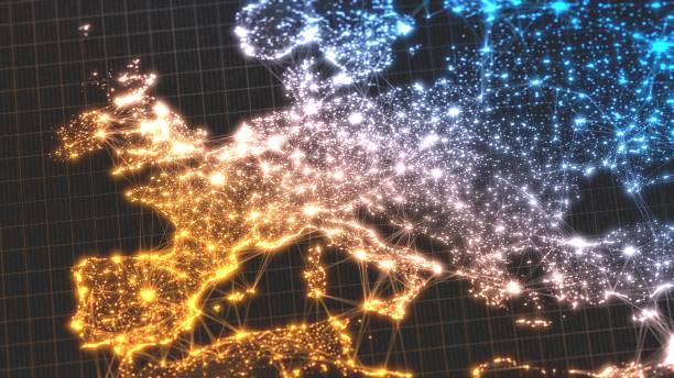 leuchtende stadt und menschliche bevölkerung dichte bereiche mit linearen verbindungen zwischen ihnen. blick auf europa. 3d illustration - demographie deutschland stock-fotos und bilder